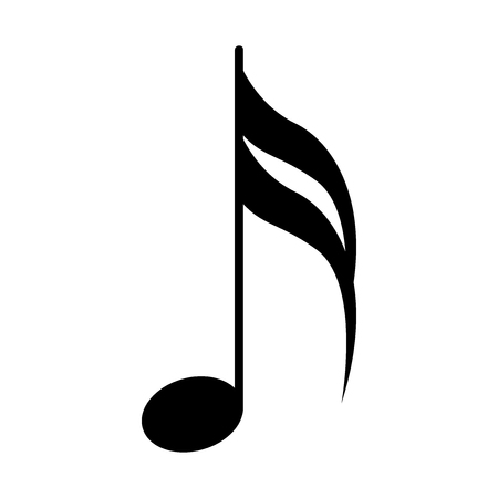 Sixteenth note. Musical symbol. Vector illustration isolated on white background