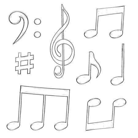 Music signs. Notes and symbols isolated on white background. Hand drawn sketch. Vector illustration