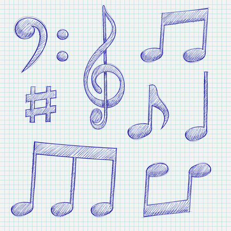 Music signs. Blue notes and symbols on lined paper background. Vector illustration Ilustrace