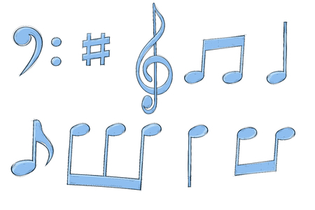 Music signs. Blue notes and symbols on white background. Vector illustration