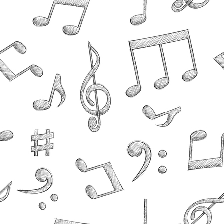 Music signs. Notes and symbols on white background. Seamless pattern. Vector illustration