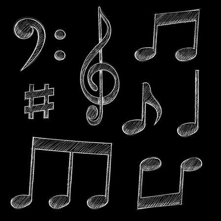 Music signs. Notes and symbols on black background. Vector illustration