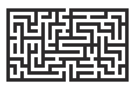 Maze. Black square puzzle. Vector illustration isolated on white background Фото со стока
