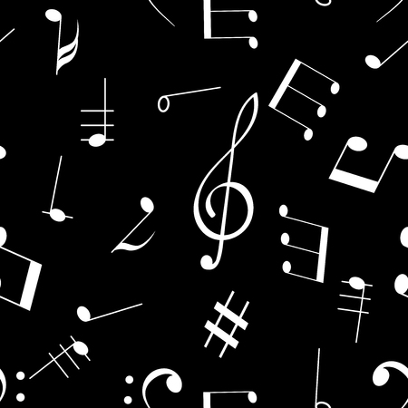 Music signs. Seamless pattern. White notes and symbols on black background. Vector illustration