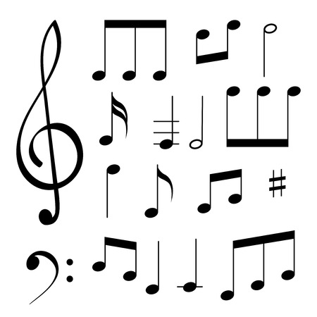 Music signs. White notes and symbols on black background. Vector illustration