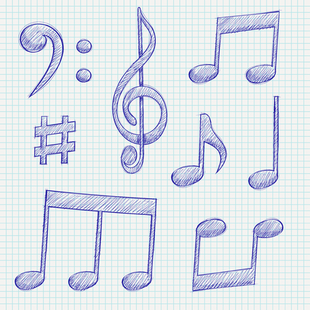 Music signs. Blue notes and symbols on lined paper background. Vector illustration Reklamní fotografie