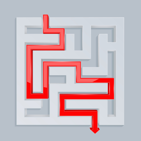 3d maze with red path. Top view. Vector illustration