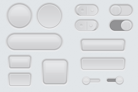 White web interface buttons set. 3d icons. Vector illustration
