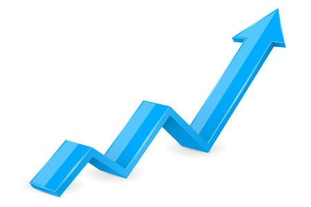 Blue arrow. 3d UP financial graph