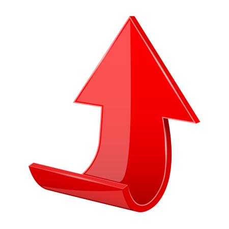 Arrow. Red moving up 3d icon Фото со стока