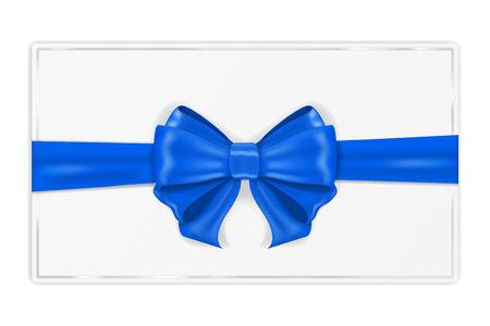 Tarjeta de felicitación envuelta con cinta azul. Con lazo de seda. Ilustración vectorial 3d