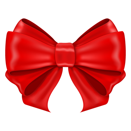 Red ribbon bow. Shiny 3d symbol. Vector illustration isolated on white background Vecteurs