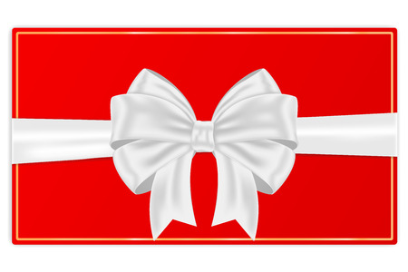 Red envelope with white silk ribbon bow. Vector 3d illustration