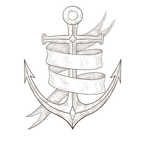 Anchor and ribbon banner. Hand drawn sketch. Vector illustration isolated on white background