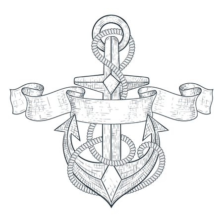 Anchor. Tied with rope and ribbon banner. Hand drawn sketch Ilustrace