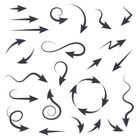 Set of black filigree arrows. Vector illustration isolated on white background