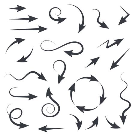 Set of black filigree arrows. Vector illustration isolated on white background