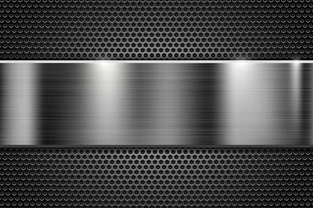 Metal perforated texture with steel horizontal element. Vector 3d illustration Vektorové ilustrace