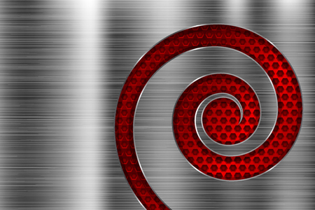 Brushed metal texture with red spiral perforation. Vector 3d illustration Vector Illustration