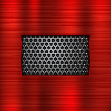 Red metal background with perforated window Ilustrace