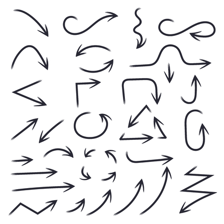 Hand drawn black arrows. Vector illustration isolated on white background