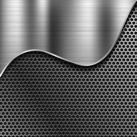 Metal perforated background with brushed steel element. Vector 3d illustration