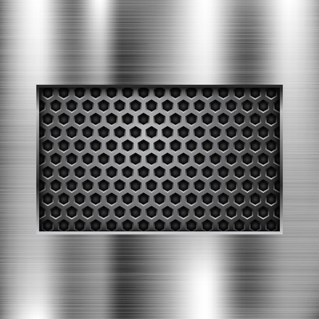 Metal background with perforated window