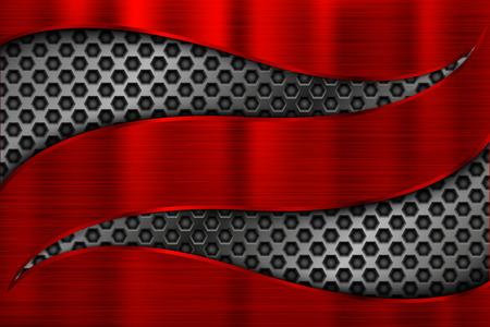 Fondo de metal rojo con ondas 3d perforadas recortadas. Ilustración vectorial