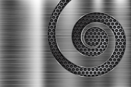 Brushed metal texture with spiral perforation. Vector 3d illustration