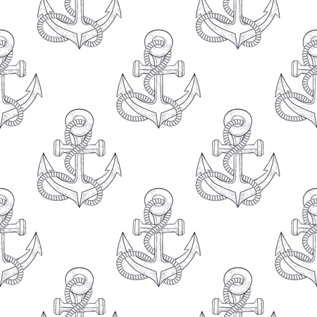 Anchors with rope. Sketch as seamless pattern. Vector illustration