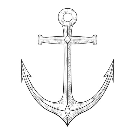 Anchor. Hand drawn sketch. Vector illustration isolated on white background