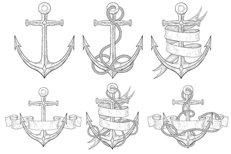 Anchors set. Hand drawn sketch. Vector illustration isolated on white background