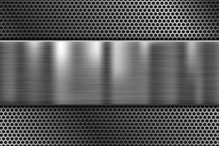 Metal plate on perforated texture. 3d shiny iron background. Vector 3d illustration