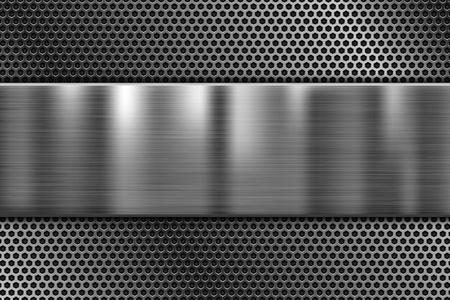 Placa de metal sobre textura perforada. Fondo de hierro brillante 3D. Vector ilustración 3d