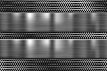 Metal plates on perforated texture. 3d shiny iron background. Vector 3d illustration