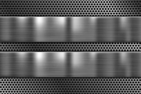 Plaques métalliques sur texture perforée. fond de fer brillant 3D. Illustration 3d vectorielle