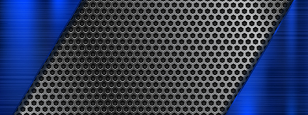 Metal perforated 3d texture with blue elements. Vector illustration