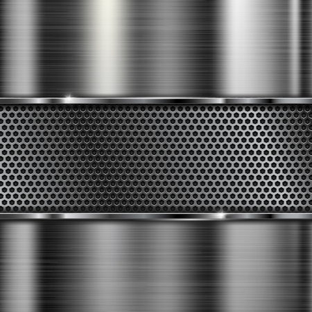 Brushed metal texture. Scratched metallic surface with perforation. Vector 3d illustration