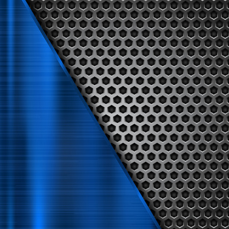 Blue metal background with perforated element. Vector 3d illustration
