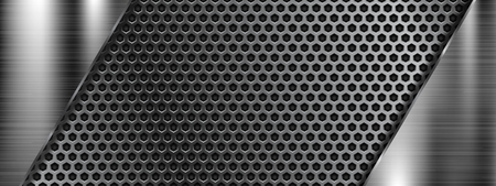 Metal perforated 3d texture. Vector illustration Illustration