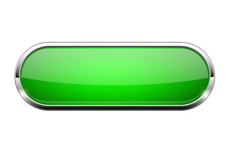 Green glass button. Shiny oval 3d web icon. Vector illustration isolated on white background