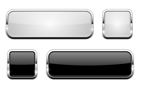 Black and white glass buttons. Shiny rectangle and square 3d web icons. Vector illustration isolated on white background 矢量图像