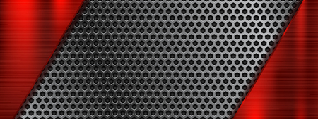 Metal perforated 3d texture with red elements. Vector illustration