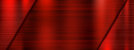 Red scratched metal background. Vector 3d illustration