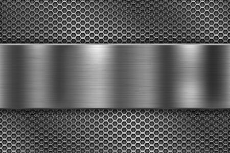 Perforierter Hintergrund mit langer glänzender Metallplatte. Vektor-3D-Illustration