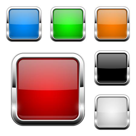 Botones de cristal. Iconos web 3d de colores cuadrados brillantes. Ilustración de vector aislado sobre fondo blanco. Ilustración de vector