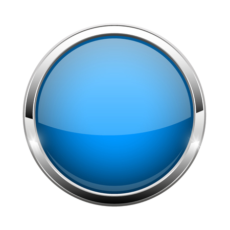 Blue glass button. Shiny round 3d web icon Illustration