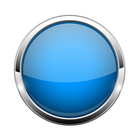 Blue glass button. Shiny round 3d web icon Illustration