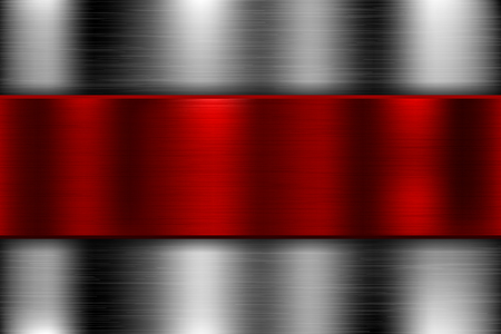 Metal background with red iron plate. Vector 3d illustration