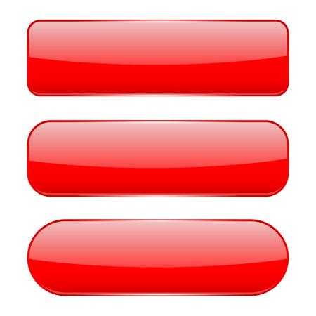 Botones de cristal 3d rojo. Ilustración de vector aislado sobre fondo blanco.